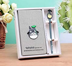 1 Pcs Grey Vintage Cover Totoro Notebook Journals Diary Sketchbook Study Spiral Writing Notebook Wonderful Creative Kids Gift for Fan with Cute Anime Pen Set Hardcover+Black Gel Ink Pen Set