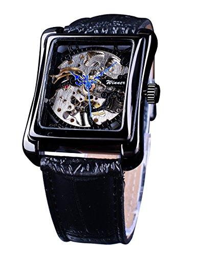 Winner - Orologio da polso meccanico da uomo, stile retrò, con quadrante quadrato, colore: nero