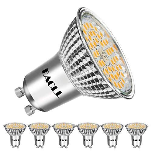 EACLL GU10 LED 10W 3000K Warmweiss Leuchtmittel 1050 Lumen Birnen kann Ersetzen 80W Halogen. AC 240V Kein Strobe Strahler, Warmweiß Licht Spotleuchten, Abstrahlwinkel 120 ° Reflektor Lampen, 6 Pack