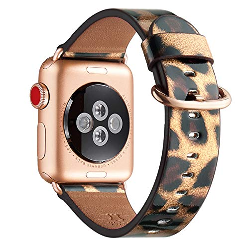 WFEAGL Compatible iWatch Band 44mm 42mm, Top Grain Leather Band with Gold Adapter (the Same as Series 5/4/3 with Gold Aluminum Case in Color)for iWatch SE & Series 6/5/4/3/2/1(Leopard/RoseGold)
