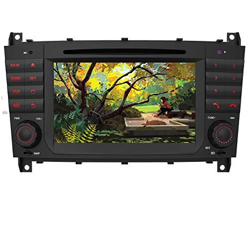 AWESAFE Autoradio mit Navi für Mercedes-Benz C Klasse Unterstützt DAB+ Bluetooth CD DVD RDS Radio 2 Din 7 Zoll Bildschirm