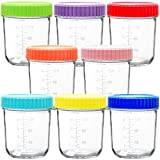 Youngever Glass Baby Food Storage, 6 Ounce Baby Food Glass Containers with Airtight Lids, Glass Jars with Lids, 8 Assorted Colors