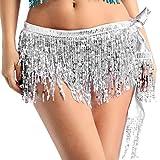 ranrann Falda Danza del Vientre Lentejuelas para Mujer Falda de Baile Latino Flecos Irregular Falda Corta Baile de Salón Disfraz Fiesta Dancewear Plateado Talla Única