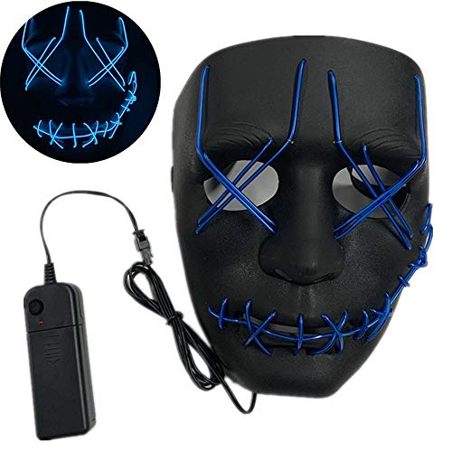 WSJMJ LED Halloween Purge Maske, Halloween Scary LED Kostüm EL Wire Light Up Maske, passend für Halloween Kostüm Festival Cosplay, Musik Festival Parties,A