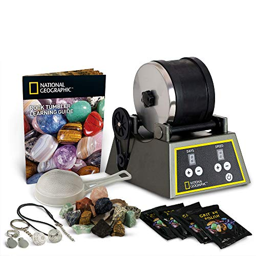 NATIONAL GEOGRAPHIC Professional Rock Tumbler Kit- Advanced features include Shutoff Timer and Speed Control - 2lb...