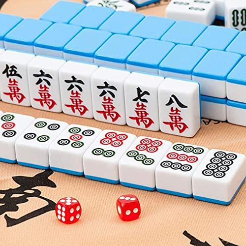 TPLIK Chinesisches Mahjong-Spiel Set, 144 Fliesen chinesische traditionelle Mahjong-Spiele mit Aufbewahrungstasche, Tischdecke Reisefamilie für chinesische Art Spiele,Blau,40mm
