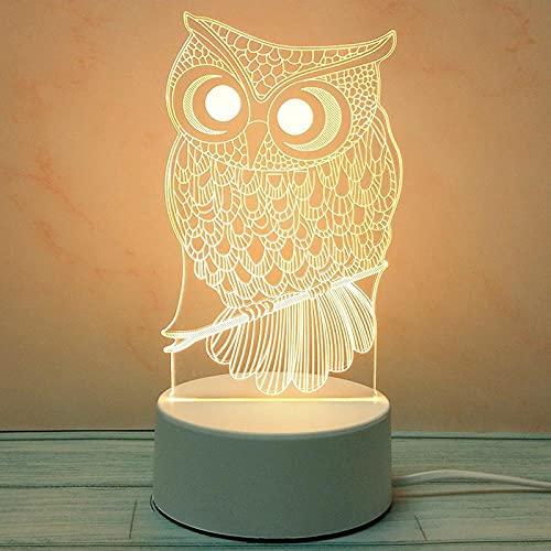 Tatapai Luces de noche 3D estéreo creativo, lámpara de mesa de amor, padres, enchufe, diablo de dibujos animados-Plug de tres colores Light_Owl