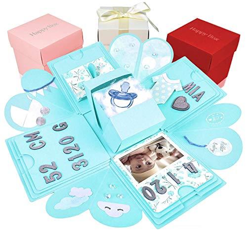 Happy Box Fotoalbum Überraschungsbox in 7 Farben, DIY Set, Explosionsbox, Scrapbook, Faltbare Fotobox, Geschenk für Weihnachten,Muttertag,Jahrestag,Geburtstag,Hochzeit,Jubiläum,Valentinstag (Blau)