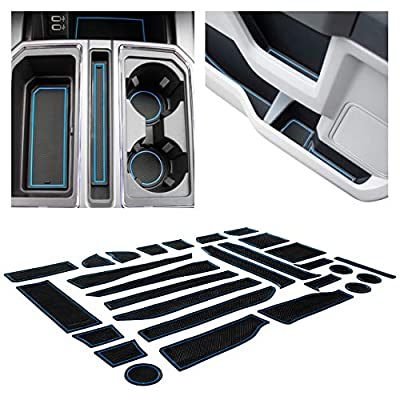 CupHolderHero for Ford F-150 2017-2020 Custom Fit Cup Holder, Door, and Center Console Liner Accessories 28-pc Set (F150 SuperCrew) (Solid Black)