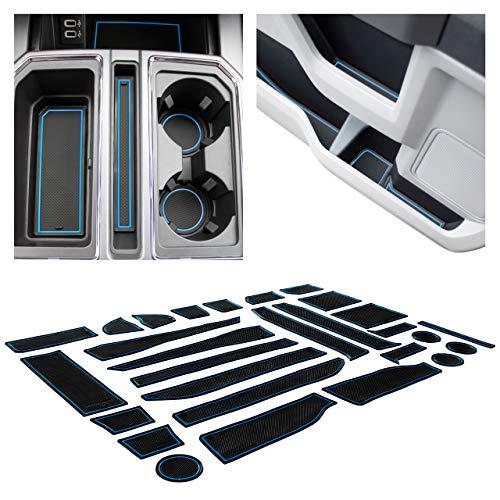 CupHolderHero for Ford F-150 Accessories 2017-2020 Premium Interior Non-Slip Anti Dust Cup Holder Inserts, Center Console Liner Mats, Door Pocket Liners 28-pc Set (F150 SuperCrew) (Blue Trim)
