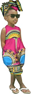 WOCACHI Kids Toddler Girls Clothes, African Boho Outfits Sleeveless Harem Romper Jumpsuit Bodysuit with Headband