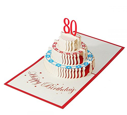 3D KARTEZum 80. Geburtstag I Pop-Up Karte als Geburtstagskarte I Klappkarte als Geldgeschenk, Glückwunschkarte, Geschenk
