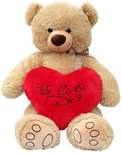 Wagner 9086 - XXL Plüschbär Teddy Bär mit Herz - 100 cm groß - beige - Teddybär
