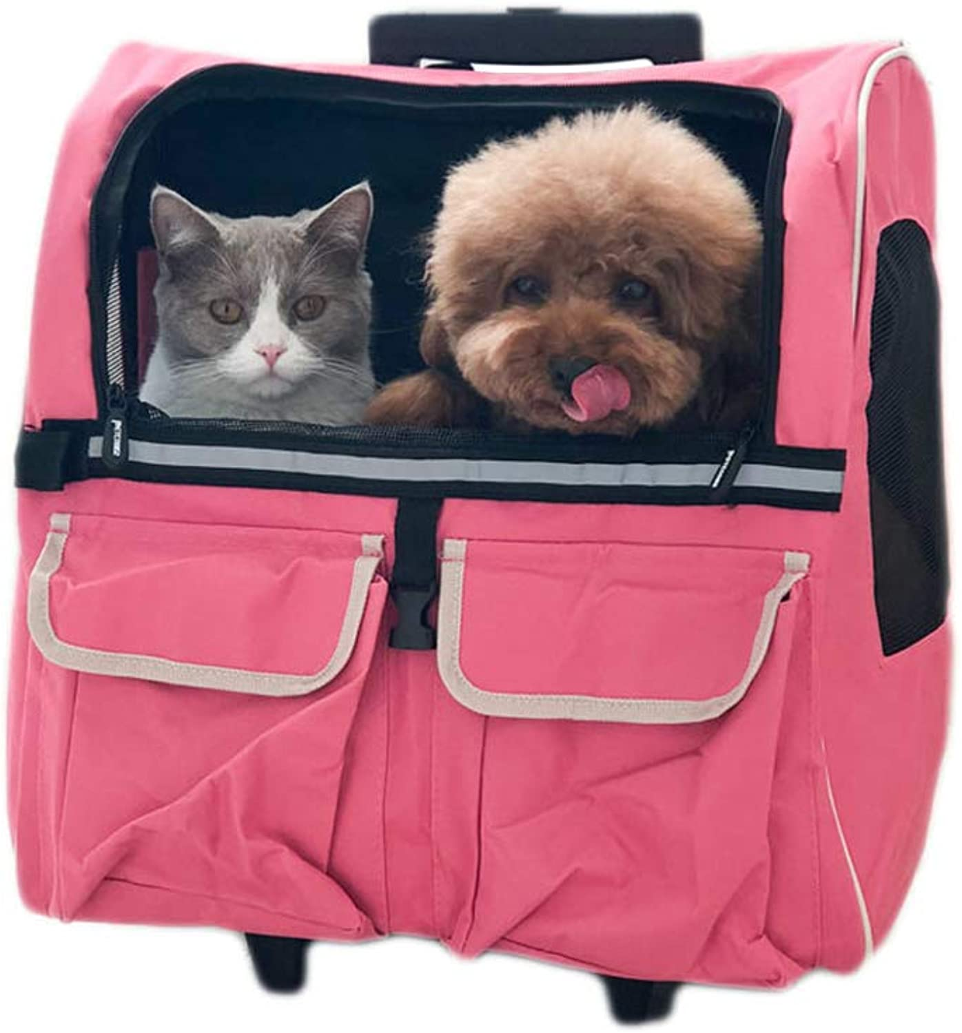 JIANXIN Pet Bag, Pet Cage, Pet Carrier, Pull Rod, Shoulder Back, Suitable For Travel, Pet To Supermarket (pink)