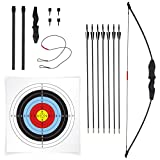 JAKUNA 45' Recurve Bow and Arrow Set for Adults Youth Kids Beginner Bows for Outdoor Archery Set with 7 Arrows 10 Target Faces 4 Target Pins Gifts for Teens and Kids (Black)