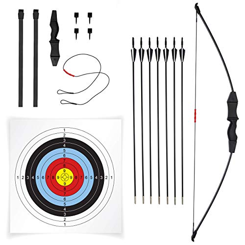 JAKUNA 45' Recurve Bow and Arrow Set for Adults Youth Teens Kids Beginner Bows for Outdoor Archery Bow Set with 7 Arrows 10 Target Faces 4 Target Pins Gifts for Teens and Kids (Black)