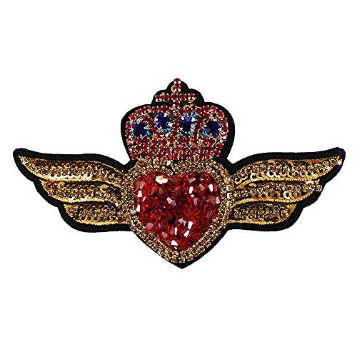 Corona Corazón con alas de cuentas de diamantes parches de lentejuelas bordado apliques Mini Corazón Insignias para Broches Costura 2 piezas
