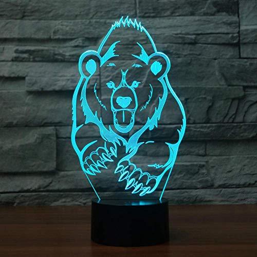 3D-Illusionslampe LED-Nachtlichtbär Modellierung Schlafzimmer Vision USB Glowing Bb Baby Sleep Big Geburtstagsgeschenk Bär Tischlampe