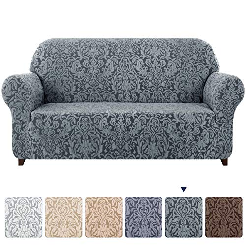 subrtex Sofa Slipcover 1-Piece Jacquard Damask Couch Cover High Stretch Furniture Protector for Armchair in Living Room for Kids, Pets(Large,Grayish Green)