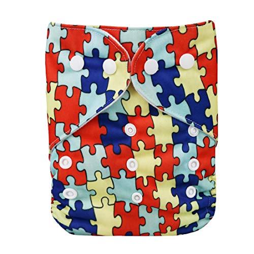DEBAIJIA Bébé Couches Pantalon Culotte Couverture de Bande Dessinée Impression Réglables Réutilisable Double Ouverture Lavable Respirant Imperméable pour 0-3 Ans Nouveau-né Bambin 1 PCS