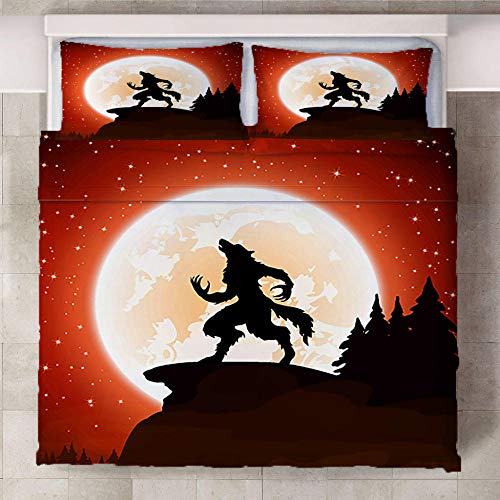 LOVEKKK Bedding Duvet Cover Set Werewolf 86.5x94.5 inches Print Duvet Cover Brushed Microfibre Duvet Cover with Pillowcases Easy Care Anti-allergic - Fade & Stain Resistant