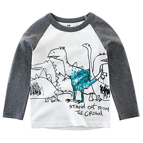Baywell Baywell Kinder Baby Jungen Mädchen T-Shirt Langarm Cartoon Dinosaurier Drucken Langarmshirt Baumwolle Tops Kleinkind Kleidung Lässige Bekleidungs 1 bis 10 Jahre alt
