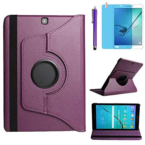 Funda para Samsung Galaxy Tab S2 9.7 Inch Casos SM-T810 SM-T813 SM-T815 SM-T819C,360 Rotación Soporte Protección Cubrir,Tener bolígrafo,Película (Purple)
