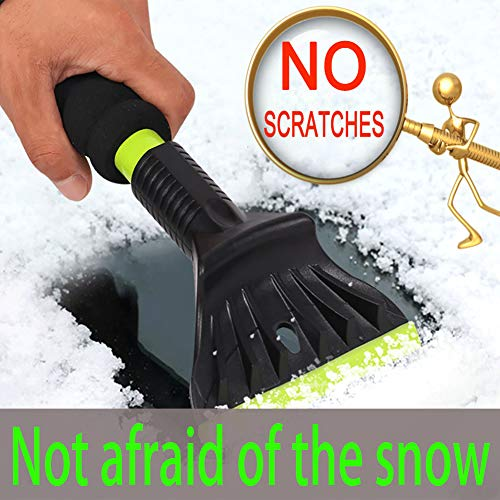AIKESI Snow Scraper for Car, Snow Tools 13' Ice Scraper Windshield Ice Shovel Frost Removal Tools, Indestructible Snow Brush Ice Scrapers from Scrape Frost Snow and Ice for Cars (Green)