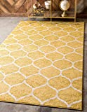 Unique Loom Trellis Frieze Collection Lattice Moroccan Geometric Modern Yellow Area Rug (4' 0 x 6' 0)