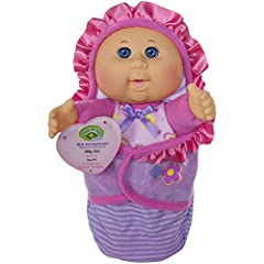 9 Inch Newborn Baby Doll with removable cute purple stripe swaddle blanket Comes with Cabbage Patch certified one of a kind adoption birth announcement (on hang tag) The doll can suck her thumb and has the signature Cabbage Patch Scent Perfect size f...
