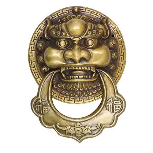 AWCPP Classical Gate Knocker, Copper Beast Head Antique Door Handle Furniture Handles Chinese Wooden Door Handle-Bronze,Bronze
