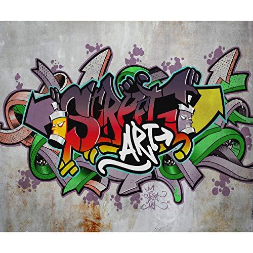 decomonkey Fototapete selbstklebend Graffiti 245x175 cm Selbstklebende Tapeten Wand Fototapeten Tapete Wandtapete klebend Klebefolie Street Art Jugendzimmer