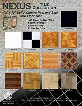 Achim Home Furnishings FTVSO10120 Nexus 12-Inch Vinyl Tile Solid Black 1 Pack