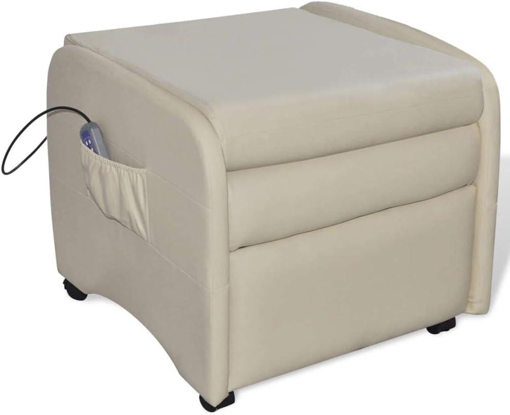 vidaXL Fauteuil de Massage massant inclinable et Pliable en Cuir Artificiel Noir Crème