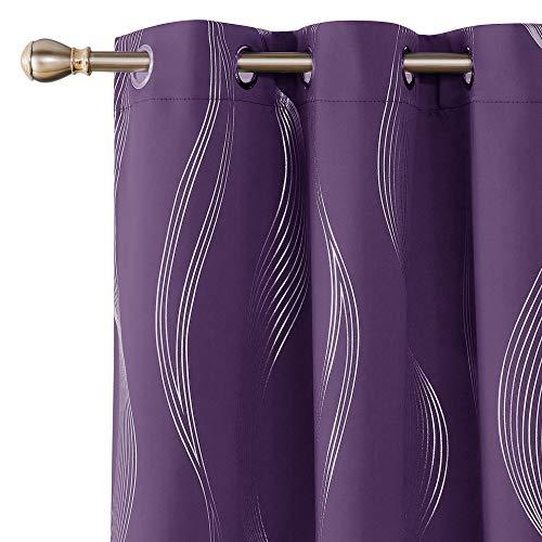 Deconovo Purple Grape Blackout Curtains Room Darkening Foil Print Wave Stripe Design Thermal Insulated Grommet Window Drapes for Nursery 2 Curtain Panels 42x84 Inch Set of 2