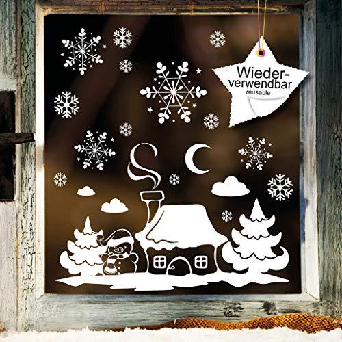 Wandtattoo-Loft Fensterbild Winterhäuschen mit Schneemann und Schneeflocken WIEDERVERWENDBAR