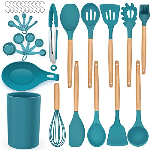 LIANYU 33-Piece Silicone Kitchen Cooking Utensils Set with Holder, Wooden Handle Heat Resistant Cookware Utensils Set, Non-Stick Kitchen Tools for Baking Cooking, Dark Blue