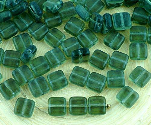 40pcs de Cristal de Diamante Negro Claro Azulejo Un Agujero Cuadrado Plano checa Perlas de Vidrio de 6mm