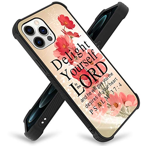 ZIYE iPhone 12 Pro Max Case(2020) 6.7 Inch Flower Christian Quotes Bible Verse Psalm 37:4 Designed Soft TPU Edge Cover Anti-Collision Scratch Proof Slim Corner Protection Transparent Durable Floral