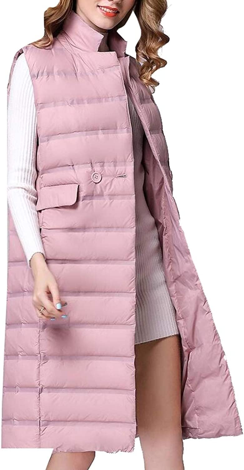 Gocgt Womens Lightweight Sleeveless Stylish Quilted Hooded Long Vest Jacket