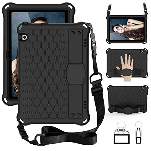 GOZOPO For Huawei MediaPad T5 Case 10.1, Durable Shockproof Kids Case with Shoulder Strap, Hand Grip Stand Cover Bumper Protective Case for Huawei MediaPad T5 10 (10.1') - Black