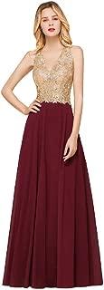 Gold Lace Applique V Neck Long Evening Formal Prom Dress for Women
