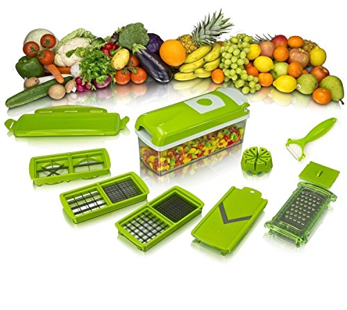 Bagonia 12 in 1 Slicer/Dicer Plus 12 Pieces Grater, Food-Chopper, Multi-Cutter, Peeler, Dicing Fruit, Vegetable Storage Container (Green, Plastic)
