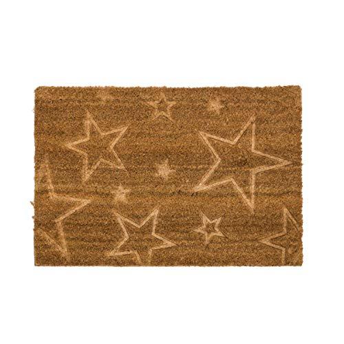 Dcasa - Felpudo de Fibra de Coco Estrellas 40x60 cm