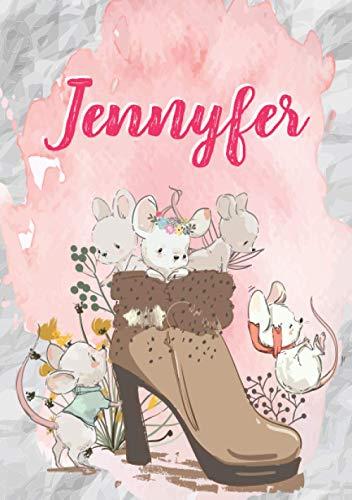 Jennyfer: Carnet de notes A5 | Prénom personnalisé Jennyfer | Cadeau d'anniversaire pour fille, femme, maman, copine, sœur | Souris mignonnes en ... pages lignée, Petit Format A5 (14.8 x 21 cm)