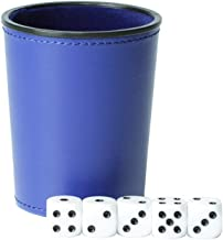 Delta-shop Felt Lined Professional Dice Cup with 5 Dice Quiet for Yahtzee Game (Blue)