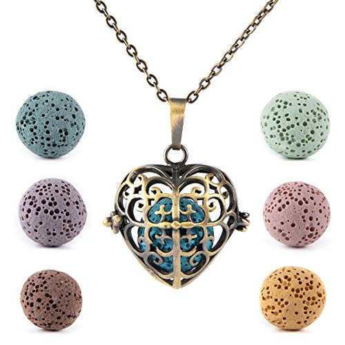 Bivei Aromatherapy Essential Oil Lava Stone Diffuser Necklace Pendant Bronze Vintage Locket Necklace With 7 Lava Beads(Heart)