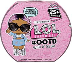 L.O.L. Surprise! #ootd includes 25+ surprises! Multiple surprise fashions for every day of the month! 1 L.O.L. Surprise! #ootd exclusive doll. 24 exclusive L.O.L. Surprise! fashion pieces. 1 L.O.L. Surprise! sticker sheet