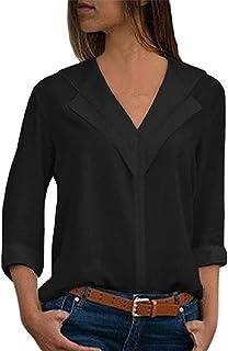 Zimaes Women V-Neck Loose Chiffon Solid Long-Sleeve Top Blouse Shirts