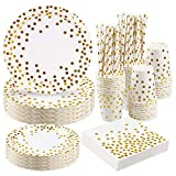 Larchio White and Gold Party Plates Tableware Set, Gold Paper Plates Cups Napkins Straws for Birthday Baby Shower Party Supplies, Serve 24 Guest